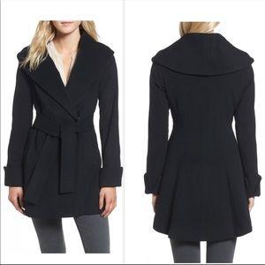 Trina Turk Ali Black Wrap Coat Wool & Cashmere
